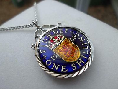 Vintage Enamelled One Shilling Coin 1966 Pendant & Necklace. Birth Year Gift