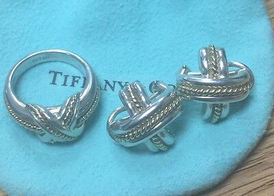 authentic tiffany &co sterling silver 18kt criss cross ring + earring set