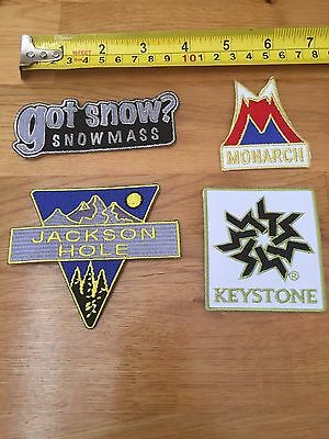 Lot Of 4 Souvenir Snowboarding Snowmobile Different Mountain Skiing Patch