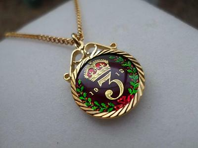 Vintage Enamelled Silver Threepence Coin 1912 Pendant & Necklace. Birthday Gift