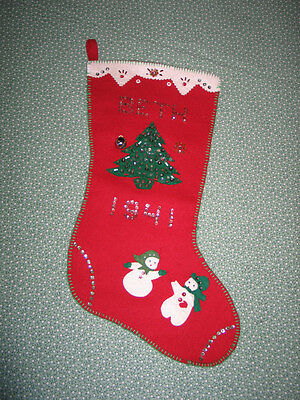 CUTE Vtg Hand Made 1941 Sequined Christmas Stocking~Snowman-Tree-BETH
