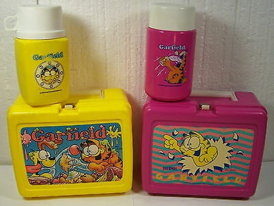 2 vintage 1978 GARFIELD THE CAT Lunch Box Thermos Bottle sets