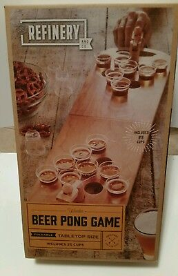 Refinery Mini Wooden Beer Pong.  Fun for party game.  NEW SEALED