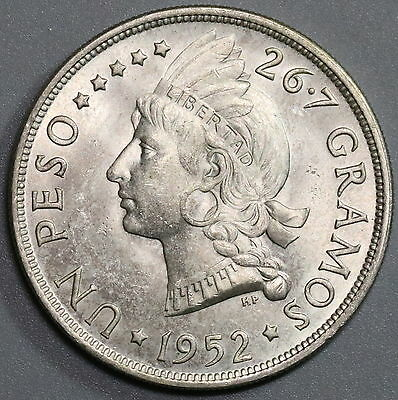 1952 Dominican Republic BU Silver Peso Only 20K Coins Minted (16112601S)