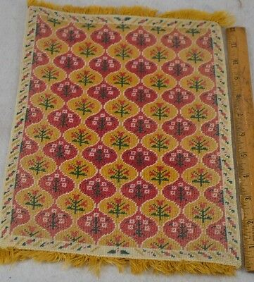 petit point doll house rug carpet hand made wool 8 in. x 12 in. vintage