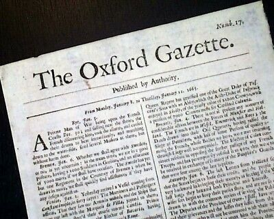 Extremely RARE 1665 Gazette 17th Century OXFORD London England OLD UK Newspaper