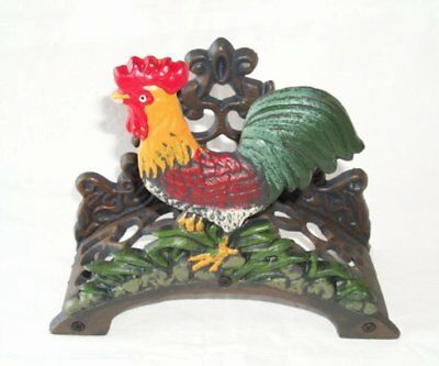 G59: Tube Holder Rooster, Cast iron colored in country house style, Garden hose