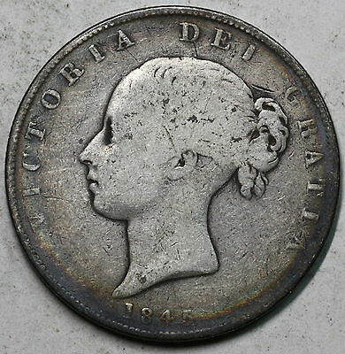 1845 Silver 1/2 Crown YOUNG HEAD Victoria GREAT BRITAIN Coin (16021002R)