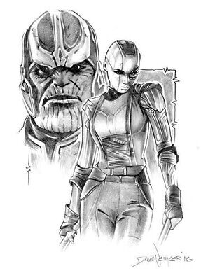 Marvel Guardians of the Galaxy Supervillins Nebula & Thanos Sketch Dave Nestler