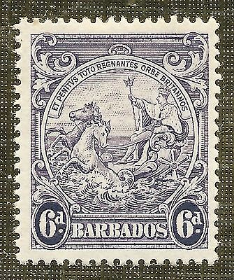 MINT 6d VIOLET STAMP 1938 BARBADOS BADGE of COLONY