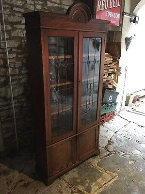 Antique Early 20c Art Nouveau Leaded Glass Pepys Style Bookcase Cabinet