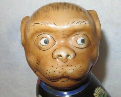 """Vintage Chinese Famille Rose Monkey w/Peach Statue on Carved Wooden Stand 12"""""""