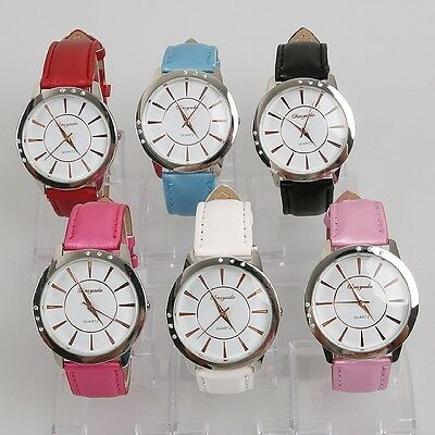 6pcs Fashion Women Ladies Watches Leather Band Quartz Casual Wristwatch U52M