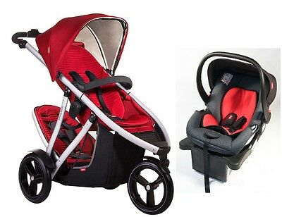 Phil & Teds Vibe V3 Double Stroller in Red + Alpha Car Seat Travel System!