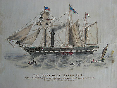 1840 SS PRESIDENT STEAMSHIP Watercolor Drawing BRITISH LINER LOST at SEA ANTIQUE