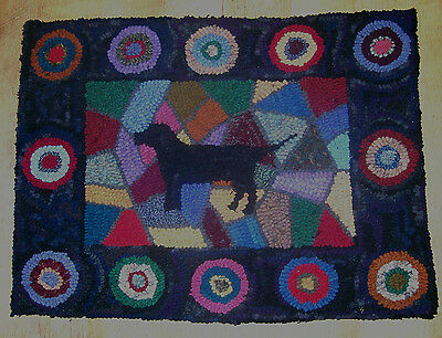 BLACK LAB ON STAINED GLASS  Primitive Rug Hooking  KIT WITH #8 CUT WOOL STRIPS