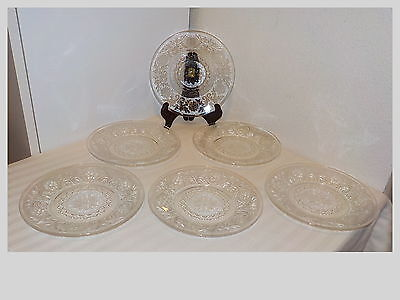 """6 Anchor Hocking Crystal Clear Sandwich Glass 7"""" Salad/bread & Butter Plates"""