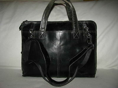 Fossil Black Leather Briefcase Computer Bag Organizer Tote