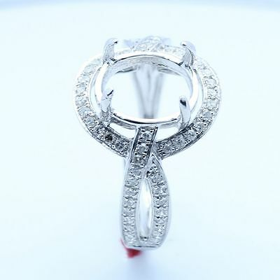 8x10mm Oval Cut Solid 14K White Gold Diamond Engagement Wedding Semi Mount Ring