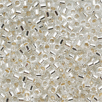 Delica Seed Beads 15/0 Silver Lined Crystal DBS041 4 Grams