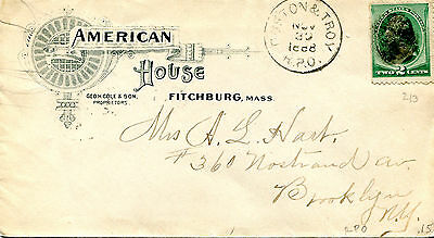 Vintage Advertising Envelope AMERICAN HOUSE Hotel FITCHBURG MA 1888 RPO