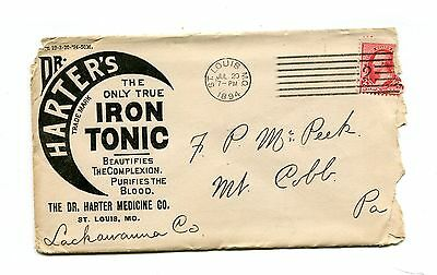 Advertising Envelope DR HARTERS IRON TONIC St Louis MO 1894 2 sided remedy cure