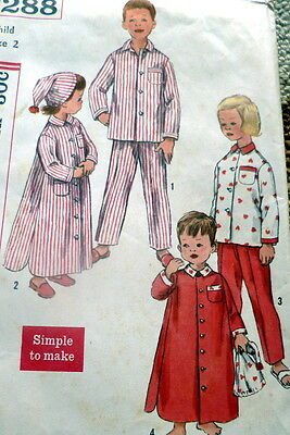 *LOVELY VTG 1950s KIDS PAJAMA, NIGHTSHIRT, & NIGHT CAP Sewing Pattern 2