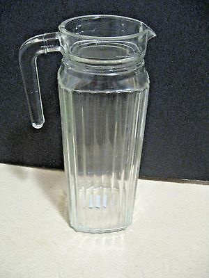 "RARE Vintage Small Ribbed Glass Juice Tea Milk Jar Pitcher ARCOROC FRANCE 9.5"" H"