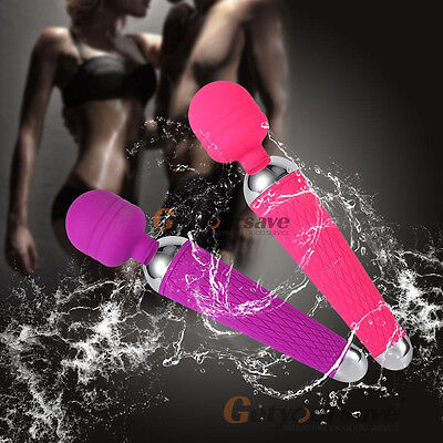10 Speed Waterproof USB Rechargeable Body Magic Wand Vibrator Massager For Women