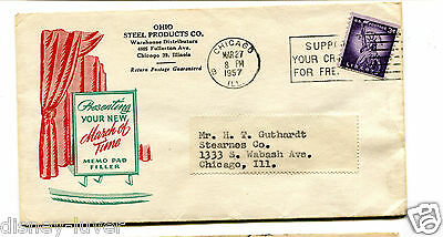 Advertising Envelope OHIO STEEL PRODUCTS 1957 March of Time Memo Pad Filler