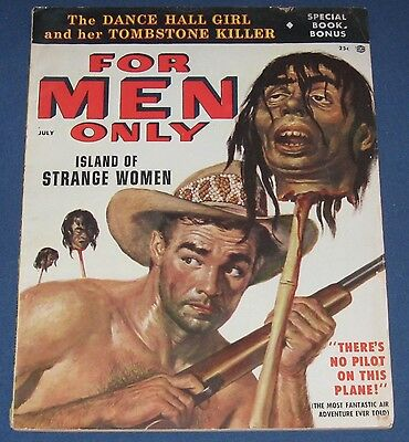 For Men Only July 1956 Men's Adventure Mag Horrific Decapitated Head Cover!