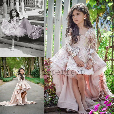 Pink Communion Party Prom Princess Pageant Bridesmaid Wedding Flower Girl Dress