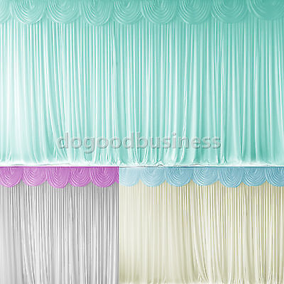 3m x 3m/6m Pleated Wedding Backdrop Curtain Decoration&Swag Background Colors