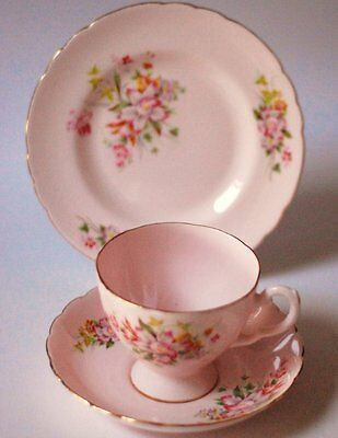 Tuscan English vintage china teacup saucer teaplate trio Pink Flowers Teaset Tea