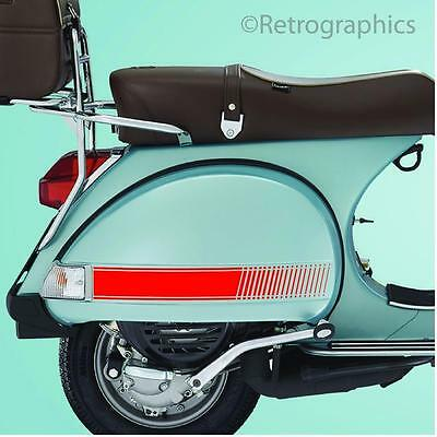 RED Stripe Style Stickers PLAIN Fit Vespa PX & LML Side panels