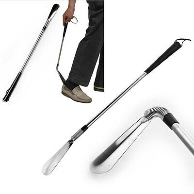 Stainless Steel Shoe Horn Flexible Long Handle Shoehorn For Jockey Shoes Boots