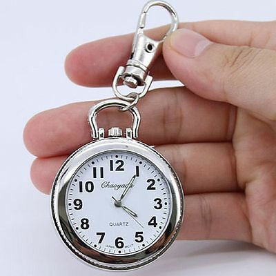 Large Face Round Key Ring Pocket Pendant Quartz Watch Battery Included E8