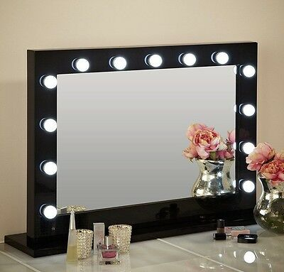 Hollywood Mirror Large Illuminated Dressing Table Mirror Landscape Black
