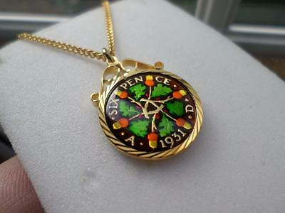 Vintage Enamelled Sixpence Coin 1931 Pendant & Necklace. Great Birthday Present
