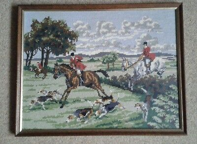 Vintage Completed Needlepoint Tapestry, Hunting Scenery Horses Hounds, Framed
