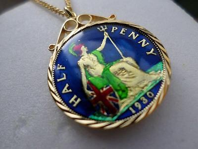 Vintage Enamelled Half Penny Coin 1930 Pendant & Necklace. Great Birthday Gift