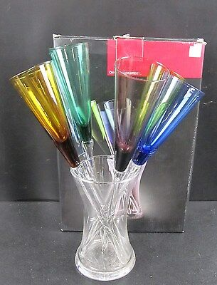 Set Of 6 Assorted Coloured Glass Champagne Flutes & Glass Cooler BOXED