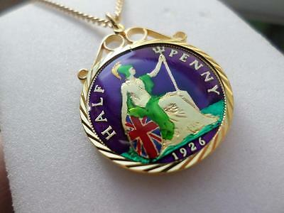 Vintage Enamelled Half Penny Coin 1926 Pendant & Necklace. Great Birthday Gift
