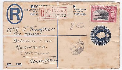 Trinidad to South Africa 1938 Registered Uprated Stationery cover
