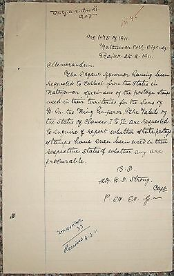 India 1911 request for stamps of Kathiawar for the sons of King Emperor George V
