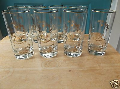 Eight 50th Anniversary 5 1/2-Inch Glass Tumblers with Gold Accents