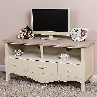 Cream Television Stand TV Unit Shabby Vintage Chic French Furniture Cabinet Home
