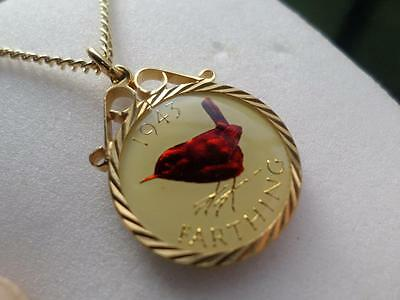 Vintage Enamelled Farthing Coin 1943 Pendant & Necklace. Great Birthday Gift