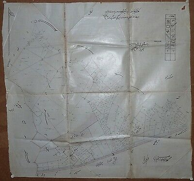 "India vintage hand drawn painted town map Shivarpur Tonk on cloth paper 26""x27"""