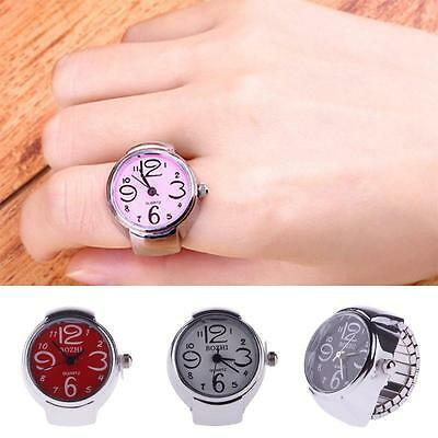 Exquisite Creative Lady Girl Steel Round Elastic Quartz Finger Ring Watch